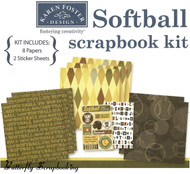 SOFTBALL SPORTS 12X12 Scrapbooking Kit Karen Foster Girls Softball Game Day NEW