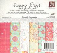Sunny Days Collection Scrapbooking 6x6 inch Paper Pad PRIMA 48 Sheets NEW