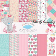 Tiny Tatty Teddy GIRL 12X12 Scrapbooking Paper Pack TRIMCRAFT 36 Sheets NEW