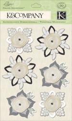 Wedding Elegance Flowers Fab 3D Scrapbook Stickers Grand Adhesions K&Company NEW
