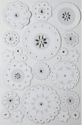 White Layered Doily & Gemstones 3D Scrapbook Stickers Martha Stewart Crafts NEW