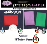 WINTER SNOW FUN PREMADE 12X12 Scrapbooking 2 PAGE LAYOUT New Just Add Photos