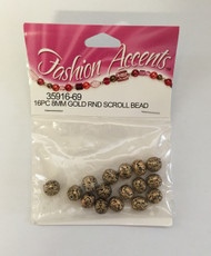16PC 8MM Gold RND Scroll Bead -NEW, 3591669