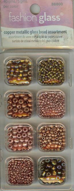 Copper Metallic Glass Bead Assortment