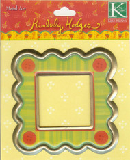 Kim Hodges  Metal Art Button & Stripes Frame