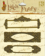 Life's Journey Brass Journal Tags