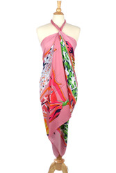 S3234 - Vintage Style Paris Graphic Print Oversized Oblong Scarf Sarong Pink