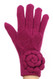 G5243 Ladies' Double Layer Ribbon Knit Gloves with Flower Magenta Purple