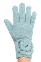 G5243 Ladies' Double Layer Ribbon Knit Gloves with Flower Light Blue
