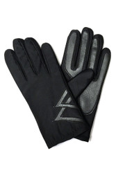G5280 Men's Black Stretch and Faux Leather Winter Driving Gloves with Fleece Lining
