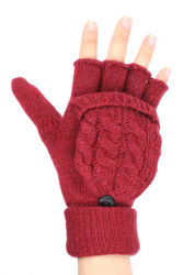 G5282 Solid Color Cable Knit Wool Blend Fingerless Flip Top Gloves Burgundy