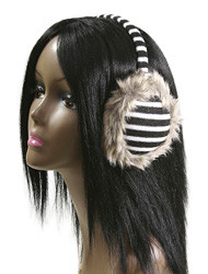 E1101B - Black and White Striped Earmuffs