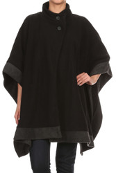 S1323 Contrast Hem Rectangular Fleece Winter Poncho With Buttons
