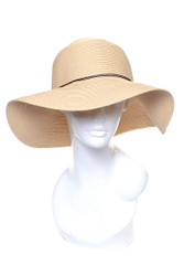H2272 - Packable Summer Straw Wide Brim Floppy Hat (Wholesale Dozen) Beige