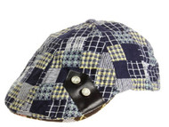 H1164 Patchwork Plaid Ivy Cap Blue