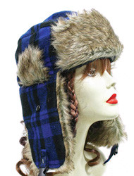 H1261 Winter Buffalo Plaid Trooper Trapper Hat Blue