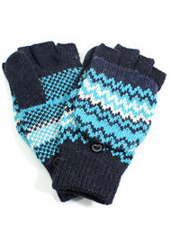 G4114A- Wholesale Winter Chevron Fingerless Gloves With Flip Top