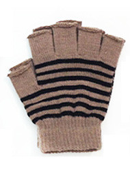 G4119- Winter Striped Fingerless Gloves - Beige