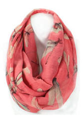 S4153C-RE - Lightweight Dragonfly Print Infinity Scarf