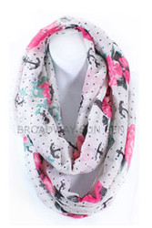 S5054C-WH - Lightweight Anchor Rose Print Infinity Scarf