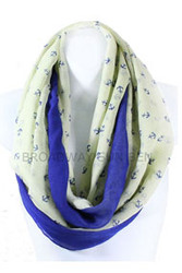S5062C-BE - Lightweight Anchor Print Infinity Scarf