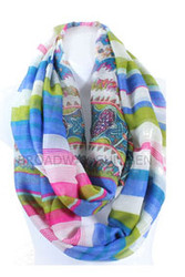 S5060C Lightweight Bold Colorful Striped Print Infinity Scarf Blue