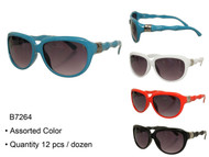 B7264 Bamboo Temple Ladies Fashion Wholesale Sunglasses Assorted Dozen