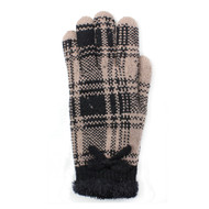 G5219  Winter Plaid Double Layer Plush Lined Knit Gloves  