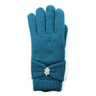 Wholesale Winter GlovesG5221  Rhinestone Bow Tie Double Layer Plush Lined Gloves   Teal