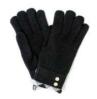 Wholesale Lined Winter Gloves with Plaid Trim and Gold Buttons for Women Black