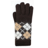 G5229 Angora Argyle Double Layer Plush Lined Gloves  