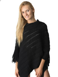 S5209 Aran Knit Asymmetrical Sweater Poncho with Fringe Womens Wholesale Winter Fashion Poncho Unit: Piece Black