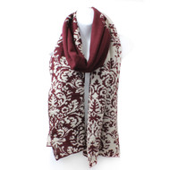 S5213  Warm Reversible Brocade Print / Solid Scarf   Burgundy
