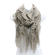 S5217 Winter Ruffle Honeycomb Knit Oblong Scarf with Fringe Khaki