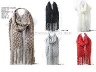 Wholesale Winter Scarf for Women- Open Knit Oblong/Rectangle S5224 Winter Diamond Trellis Knit Long Scarf with Fringe Pre-Assorted Wholesale Dozen Black, White, Red, Gray, Beige