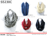 S5230C  Winter Knit Infinity Scarf with Scalloped Edges Pre-Assorted Dozen Gray, Blue, Ivory, Burgundy, Black