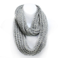 S5231C Winter Chunky Knit Infinity Scarf Speckled Gray