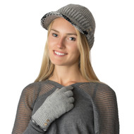 Wholesale Beanie Hat Cap H5202  Double Layer Knit Cap with Brim and Plaid Trim with Gold Buttons  Gray with Matching Gloves G5228