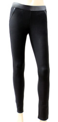 LG5305 - Womens High Quality Faux Leather-Trimmed Black Leggings