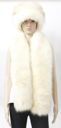 HFur15S Faux Fur Russian Cossack Pillbox Hat and Stole / Scarf set Arctic White Fox