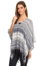 S6010 Women's Summer Lightweight Blue Ikat Pullover Poncho Tunic with Wood Bead Tassels (Wholesale Piece or Dozen)(Wholesale Piece or Dozen) Blue