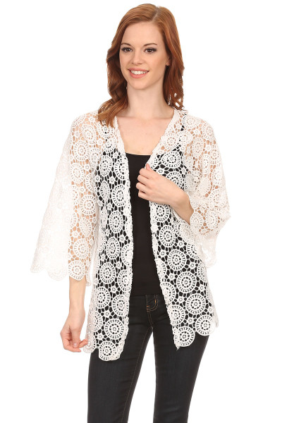 Women's Medallion Lace Cardigan Jacket with Cropped Sleeves  Ivory