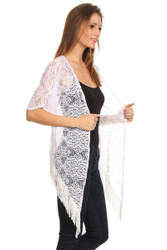 S6028 Long Front Lace Cardigan Poncho Vest with Fringe White
