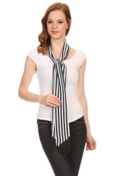 S6109 Women's Navy and White Stripe Skinny Scarf Sash Tie with Fringe