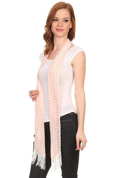 S6114 Women's Pink Squares Skinny Scarf Sash Tie with Fringe