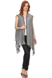 S5023 Ladies Black and White Striped Soft Asymmetric Vest (Wholesale Piece or Dozen)