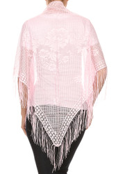 S434 Crochet Net Lace Triangle Shawl Mantilla Pink