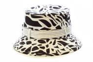 Black and White Cloth Packable Ladies Fashion Bucket Sun Hats  Summer Shade