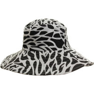 Black and White Animal Print Fabric Packable Ladies Fashion Wide Brim Sun Hat Forest Shade