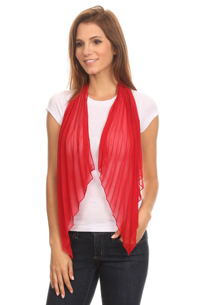 SUP-003 Fashion Solid Color Pleated Chiffon Butterfly Wing Scarf  Scarlet Red